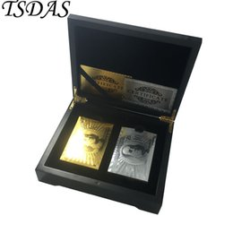 Wholesale Poker Cards Box - Luxury 24k Gold Poker Card Double Side Engraved USD 100 Dollar(Gold & Silver) Style, 2 Set Gold Playing Card With Wooden Box