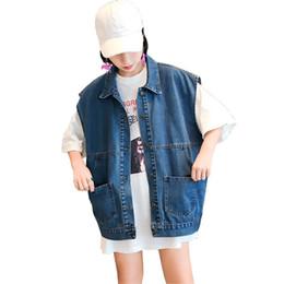 Wholesale korean long vest coat - Korean fashion women clothing denim women's sleeveless vests turn down collar loose jeans waistcoat single breasted jackets coat