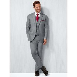 Wholesale cheap slim blazers - Cheap -- Light Grey Groom Tuxedos Two Button Side Vent Slim Fit Bridegroom Blazer Men Formal Prom Suits Brand New(Jacket+Pants+Tie+Vest)866