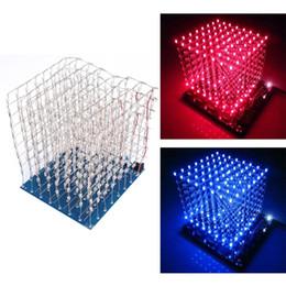 Freeshipping 3D LED luz cuadrada kit de bricolaje 8x8x8 3 mm LED cubo blanco LED azul / luz roja luz PCB tablero de mesa lámparas desde fabricantes