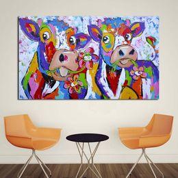 afrikanische kunst gemälde frauen Rabatt 1 Panel Leinwand Kunst Bunte Kuh Malerei Schlafzimmer Decor Wand ölgemälde Drucken Schöne Wandbild für Wohnzimmer Kein Rahmen
