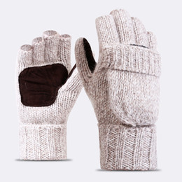 Wholesale gloves half fingers flip - High Quality Plus Thick Male Fingerless Gloves Men Wool Winter Warm Exposed Finger Mittens Knitted Warm Flip Half Finger Gloves