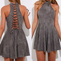 Wholesale Mini Sexy Summer Robes - Sleeveless Hollow Out Bandage Dress Women Sexy Gray Stand Collar Suede Dresses Spring Summer Slim Robe LJJO4216