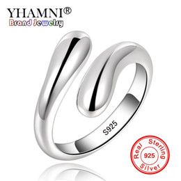 channels box Coupons - YHAMNI 100% Original 925 Sterling Silver Ring Size Adjustable Water Drop Teardrop Open Ring For Women with Gift Box HR012