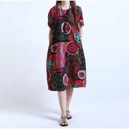 8385dcd941c New 2017 Summer Plus Size Women Vintage Casual Robe Big Sizes Short Sleeve Print  Dresses Loose Pocket Cotton Linen Dress Vestido
