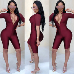 Corpo del corpo della donna online-Sexy Body Donna Manica corta Playsuit Torna Zipper Bodycon Tuta Short Pagliaccetti Womens Jumpsuit Party Club Body Femme