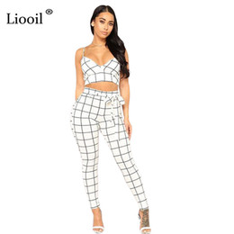 Wholesale Lace Outfits For Women - Liooil Two Piece Lace Up Plaid Rompers Womens Jumpsuit Sleeveless Backless Bodycon Black Jumpsuits Sexy Club Outfits For Woman
