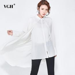 Wholesale Korean Womens Fashion Blouses - VGH Chiffon Womens Tops And Blouses 2018 Spring Irregular Two Piece Long Sleeve Single Breasted Female Shirt Korean Fashion New