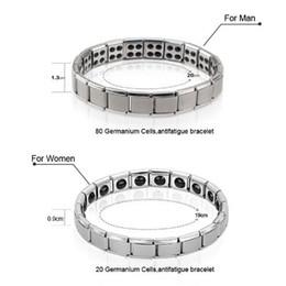 Wholesale Energy Power Band Bracelet - 2018 new Titanium Energy Magnetic Germanium Energy Bracelet health function Energy power bracelets Wrist Band women men statement jewelry