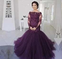 Wholesale Cheap Pink Shirts For Women - 2018 Plus Size Bateau Neckline Mermaid Prom Dresses Long Sleeves Cheap Evening Dress Wear long Beaded Formal Gowns for women Bridal Guest