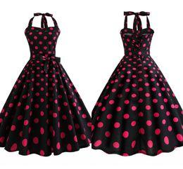 1940 s Vintage Kırmızı ve Siyah Polka Dot Yaz Kolsuz Casual Elbise Ekip Boyun Diz Boyu Rockabilly Kadınlar Parti Elbise FS3847 nereden