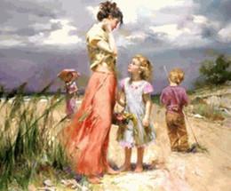 """Pintura de panel multi playa online-""""Hija Pino Daeni madre en la playa"""" retrato pintado a mano la pintura al óleo del arte En los tamaños decoración de la pared lona gruesa Multi, FP65 #"""