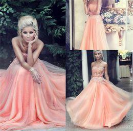 Персиковое кружево платья выпускного вечера бисером аппликации обвалки линии длиной до пола вечернее платье вечернее платье вечерние платья от