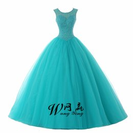 Ruby Bridal Vestidos De Fiesta Blue Charming Beaded Ball Gown Quinceanera Dresses Back Hole Sweet 16 Dresses Party Gown de Fornecedores de vestidos de quinceañera vestido de festa