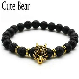 Argentina Cute Bear Brand Antique Silver Animal Wolf Head Bracelet Men Jewelry Fashion Black Frosted Volcano Lava Stone Beads Hombres Pulsera cheap cute bear bead Suministro