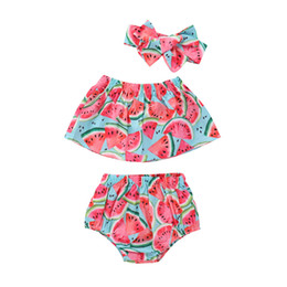 Wholesale toddler bloomer shorts - 2018 INS baby girl toddler 3piece set outfits Watermelon Tank Tops Shirts Vest + Shorts Pants Bloomers wtih Bow headband Summer sets