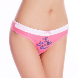 Wholesale thong pants girl - Free shipping 5pcs lot Women's Cotton panties Girl Briefs sexy thong low-waist Cat Sexy Cute Cotton Underwear T pants passion