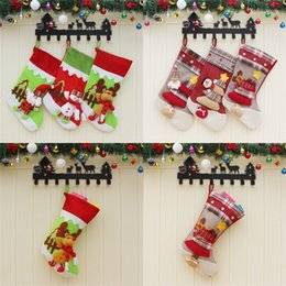 Wholesale wholesale kids christmas socks - Merry Christmas Stocking Decorate Canvas Children Kid Santa Claus Snowman Elk Socks Pendant Candy Gift Bag Party Supplies 12cx bb