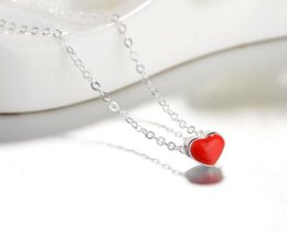 Wholesale Korean Small Pendant Necklace - South Korean version S925 pure silver drop of the collarbone chain love pendant girl small fresh necklace accessories.