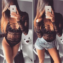 Wholesale jumpsuits slim - Spring Sexy Women Jumpsuits Women Lace Slim Bandge Tie V Neck Long Sleeves Bodysuit Hollow Out Tank Vest Rompers For Sales