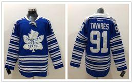 Mezcla de jugadores online-New Maple Leafs Jerseys # 91 Jersey New Player Hockey Jerseys Winter Classic Color azul Tamaño M-XXXL Orden de mezcla Alta calidad Todos los jerseys