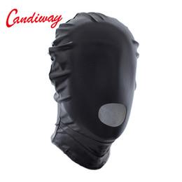 apertura della bocca bdsm Sconti Sexy PU Leather Latex Hood Mask aperto Bocca copricapo Fetish Seduce Erotic BDSM Donne Uomini Gioco per adulti