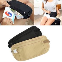 Wholesale travel security money bag - Travel Pouch Waist Belt Bag Compact Sport Jog Run Zippered Hidden Money Security Storage Bag DDA672 Kids Purse