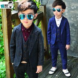 Wholesale kids blazers boys - Boys Blazer Formal Suit Wedding Suits for Boy Formal Dress Suit Boys wedding suit Kid Tuxedos Page boy Outfits blazer+vest+pant 3pieces Set