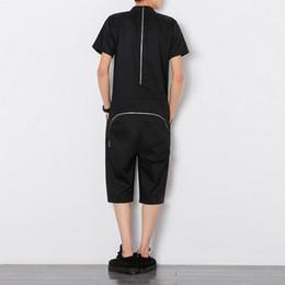 Wholesale designer jumpsuit - Zipper Jumpsuit Men Summer Men Designer Overall Slim Fit Mens Pants Fashions Men One Piece Shortset 2018 erkek pantolon