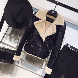 Wholesale Women S Silk Velvet Jackets - Leather Jacket Women Limited Faux Leather Full 2017 Winter New European And American Big-name One Lamb Wool Velvet Coat Jacket