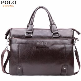Wholesale Leather Briefcase For Laptop - VICUNA POLO High Capacity Hollow Out Bottom Men's Leather Briefcase Bag For 14'' Laptop Vintage Business Leather Mens Handbag