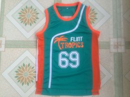 "Wholesale Men Stuffs - 2018 Mens Cheap Throwback Basketball Jerseys #69 Downtown ""Funky Stuff"" Malone Flint Tropics Semi Pro Team Green Movie Jersey"