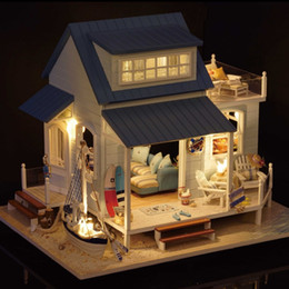 doni della casa della spiaggia Sconti originale 3d fai da te Mar dei Caraibi grande oceano villa spiaggia duplex casa led dollhouse partita sylvanian famiglie regalo per bambini ragazze