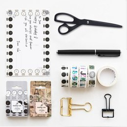 Wholesale Books Label - Wholesale- 2016 8 pcs Lot Function label paper masking tape set 15mm*7m Vintage washi tapes for scrapbook book marker Decoration gift F479