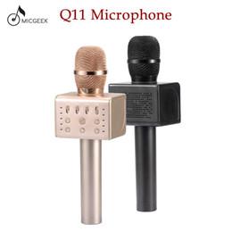 оптовые беспроводные микрофоны для караоке Скидка Оригинальный бренд MicGeek Q11 беспроводной Караоке микрофон 2.1 Звуковая дорожка размерный звук изменение голоса 5 динамиков смартфон