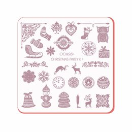 Canada Nouveau Coming Acrylic Layering Nail Art Templates Plastique De Noël Design Stamp Polonais Nail Stamping Pl CHRISTMAS PARTY 01-04 cheap party nail acrylics Offre