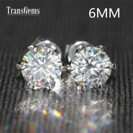 2020 женщины муассанит Transgems 14 K 585 белое золото 1.6 ctw 6 мм лаборатория создана Moissanite Алмаз серьги для женщин отодвинуть серьги скидка женщины муассанит