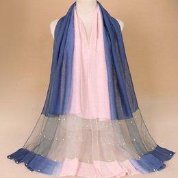 b2be68c3e0d8 TNINE Femmes Perle Bulle De Soie En Mousseline De Soie Écharpe Hijab Wrap  Gradient Stripe Conception Écharpe Châles Musulman Hijab Foulards Bandeau  Écharpes