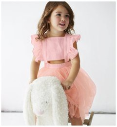 Wholesale Girls New Cotton Frocks - 2018 new designs kids summer bownot princess party dress fancy girls fly sleeve lace tutu frocks
