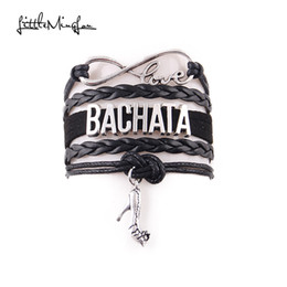 Wholesale Suede Bracelets - Little MingLou Infinity love Bachata Bracelet high heels Charm bracelets & bangles for Women men leather braid suede jewelry