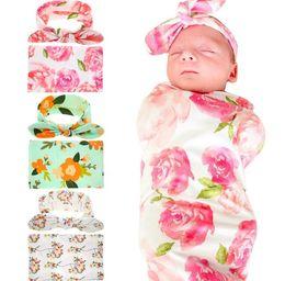 Новорожденный пеленание одеяла с Банни ухо ободки детские цветочные пеленать обернуть одеяло Hairbands детские хлопок обернуть ткань набор BHB11 supplier bunny baby blanket от Поставщики кролик детское одеяло