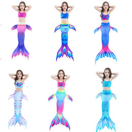 Wholesale little mermaid cosplay - Kids Girls Mermaid Tail Swimming Suit With Monofin Little Mermaid Tails Children Swimmable Swimsuit With Bikini Fancy Dress Mermaid Cosplay