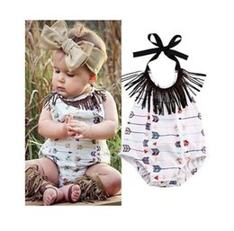 Wholesale Quality Infant Clothing - high quality girl rompers Cute Infant Baby Girls Bodysuit Arrow printed cute girl's fashion Jumpsuit Outfits Sunsuit Clothes free shipping B