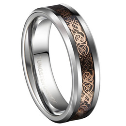 Canada 6mm Bandes De Mariage En Carbure De Tungstène Or Rose Couleur Celtic Dragon Couples De Mariage Anneaux Ensembles Bijoux De Mode cheap rose gold celtic wedding bands Offre