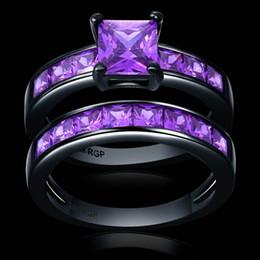 Wholesale 18k gold alliance - Noble purple square CZ Zircon couple Rings Set black Gold filled Wedding alliance For Women no.1733