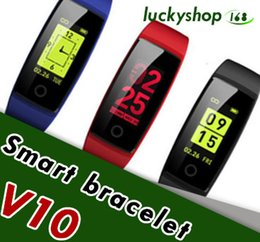 Wholesale Color Red Activities - V10 Smart Bracelet Heart Rate Monitor Blood Pressure Color Screen Smart Band Wristband Activity Fitness Tracker Pedometer Colorful Smartband