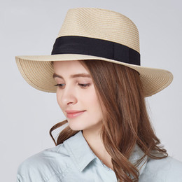2019 roll brim gorras Ladies Beach Hat Men Wide Brim Straw Panamá Roll up  Hats Mar d884093b3ddc
