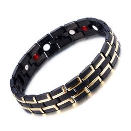 Cadena de mano magnética online-Healing Magnetic Bracelet Men / Woman Acero inoxidable 316L 3 Elementos de cuidado de la salud (Magnetic, FIR, Germanium) Pulsera de oro Hand Chain