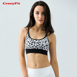 3274b4eca0f53 CrazyFit Womens Sports Bra Running Yoga Fitness Gym Push Up 2017 Cropped  Print Breathable Leopard Underwear Sexy Sportswear sale