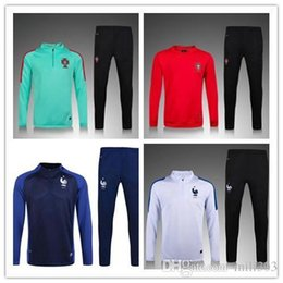 Wholesale France Soccer Shirt - 2017 Portugal trainingsuit kits longsleeve France jacket tracksuit Soccer Jersey France GRIEZMANN POGBA MARTIAL Giroud jersey Football shirt